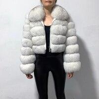 Новое Поступление Женское пальто из натурального Лисьего меха короткая стильная молния модная куртка из натурального меха
