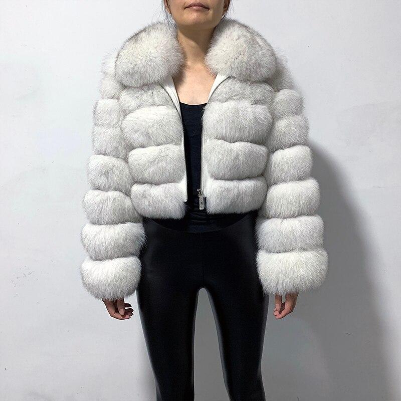 Rf1982 nouveauté manteau de fourrure de renard véritable femme Style court Slim Fit Zipper mode vraie veste de fourrure