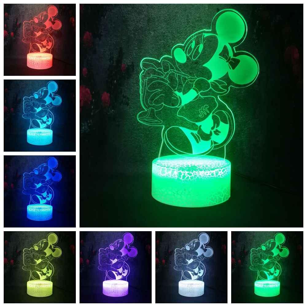 Cô Gái Như Dễ Thương Chuột Minnie Uống Trang Trí 7 màu Gradient 3D LED NightLight Bàn Nứt Đèn Kid Phòng Ngủ Đảng đồ chơi Màn Hình Hiển Thị