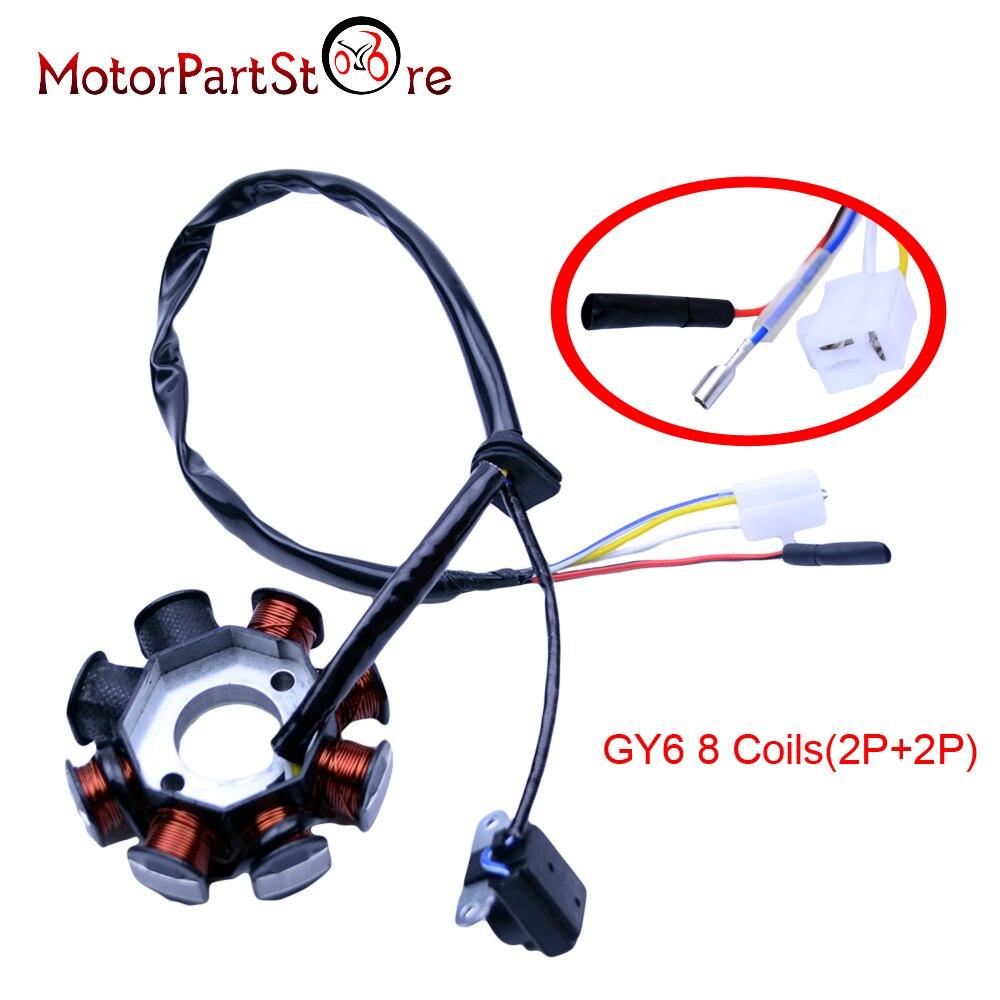 Катушка статора GY6 49cc 50cc 125cc 150cc, скутер, мопед, картинг, ATV Sunl Roketa, 8 Катушек, 4 провода