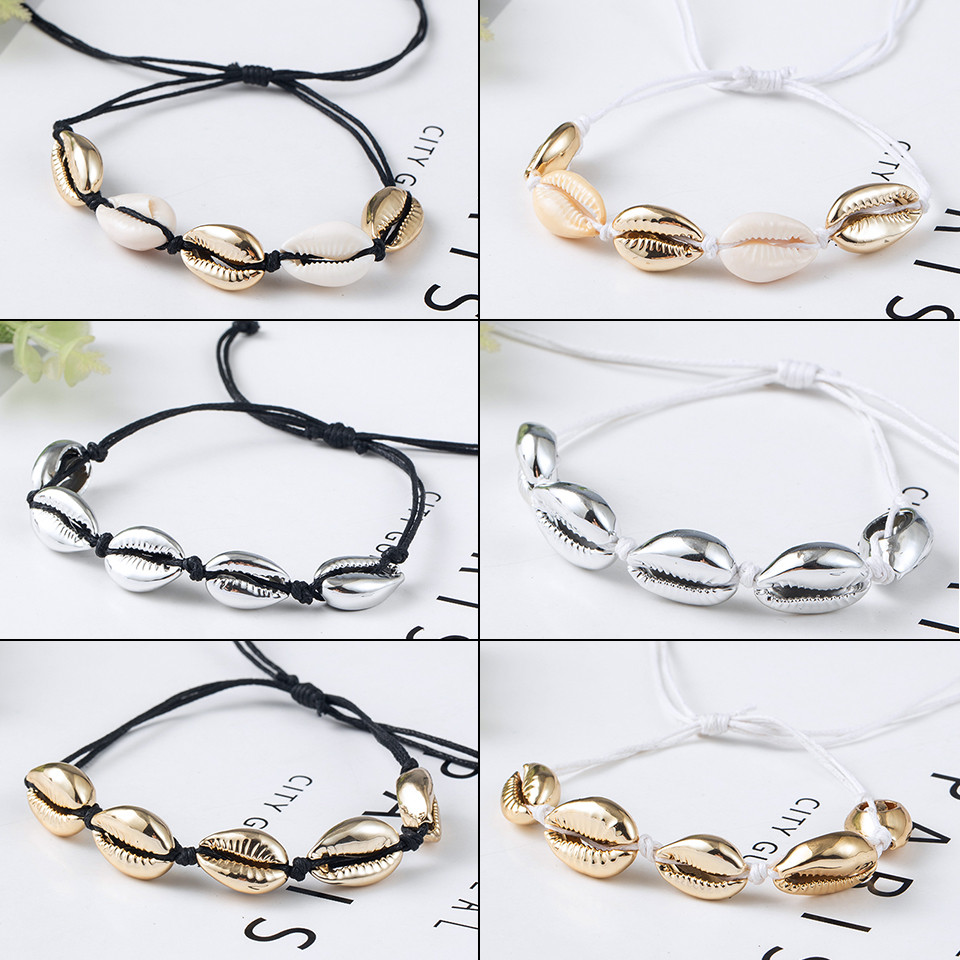 Hot sell Bohemia Natural shell Handmade Women Bracelet Fashion Gold and silver plating for Jewelry pulsera