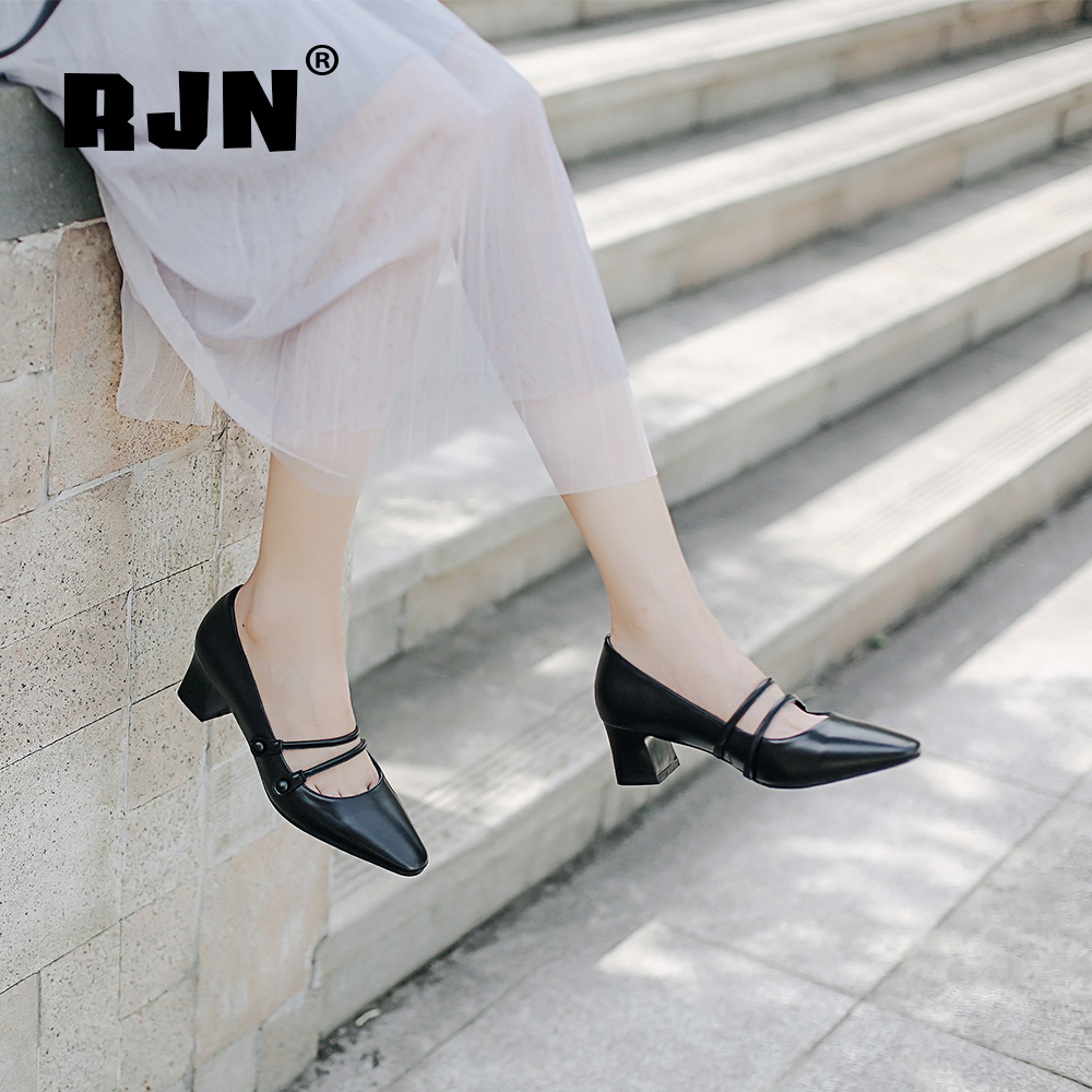 Buy RJN Sexy Women Pumps High Quality Cow Leather Buckle Strap Solid Mature Pointed Toe Square Heel Stylish Mary Jane Shoes RO19
