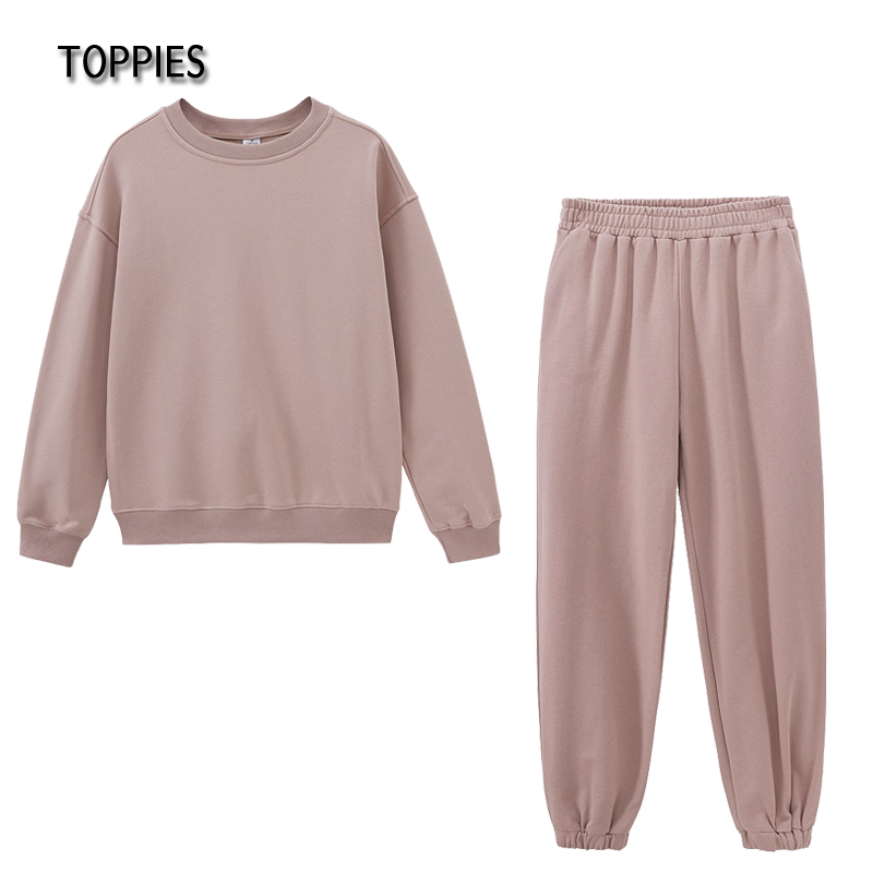 Toppies Casual Two Piece set woman Suit Female Tracksuit Pant O-neck Sweatshirts White Sweatpants