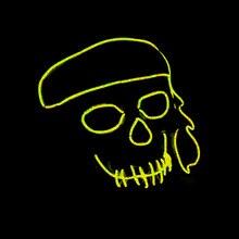 Halloween Masks Ghost Dance Party Bar Environment-friendly Plastic Gorgeous Color EL Cold Light Luminous Mask