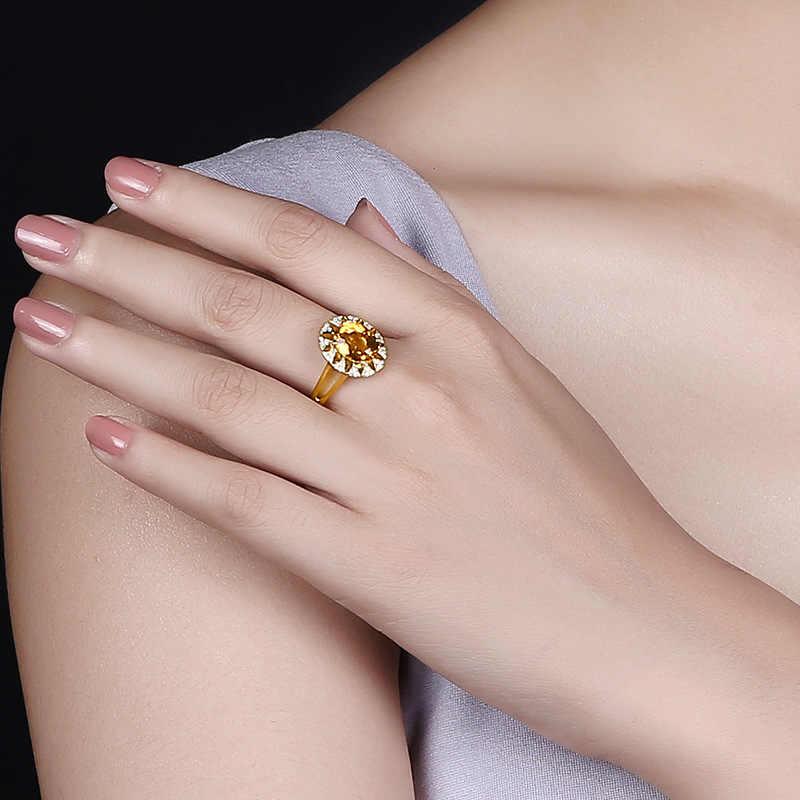 Cellacity 925 الاسترليني خاتم فضة مع الكبير سيترين الماس عرس الخطوبة كوكتيل حزب للنساء خاتم بالجملة