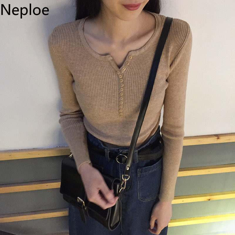 Neploe 2020 Autumn Button V Neck Sweater Women Basic Slim Knitted Pullover Women Sweaters High Elastic Knit Jumper Lady Sweater