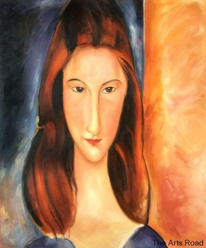 Hand Made Figure Oil Painting Modern Abstract Art Portrait of Jeanne Hebuterne by Amedeo Modigliani Painting on Canvas Vertical image