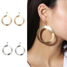New Vintage Earring For Women Gold Round Big Circle Stud Earrings Geometric Statement Earring 2019 Metal Earring Fashion Jewelry цены