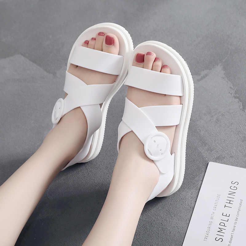 Lucyever damskie płaskie sandały gladiatorki damskie z wystającym palcem klamra miękkie galaretki gumowe sandały kobiece dorywczo platformy buty na plażę kobieta