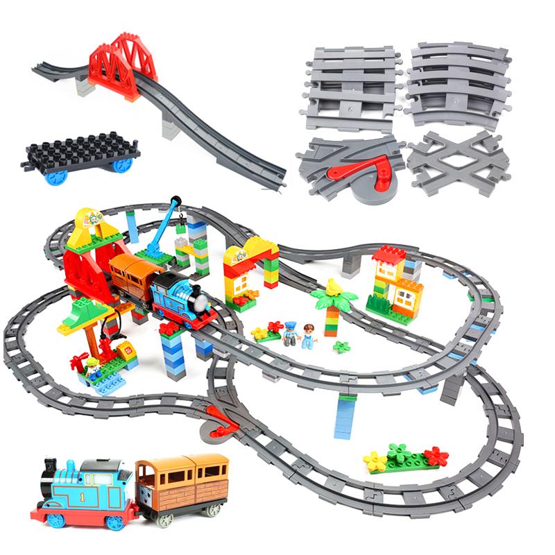Big size Building Blocks Compatible Train Sets DIY Railway Track Assemble Interactive Educational Bricks Toys for Children gift