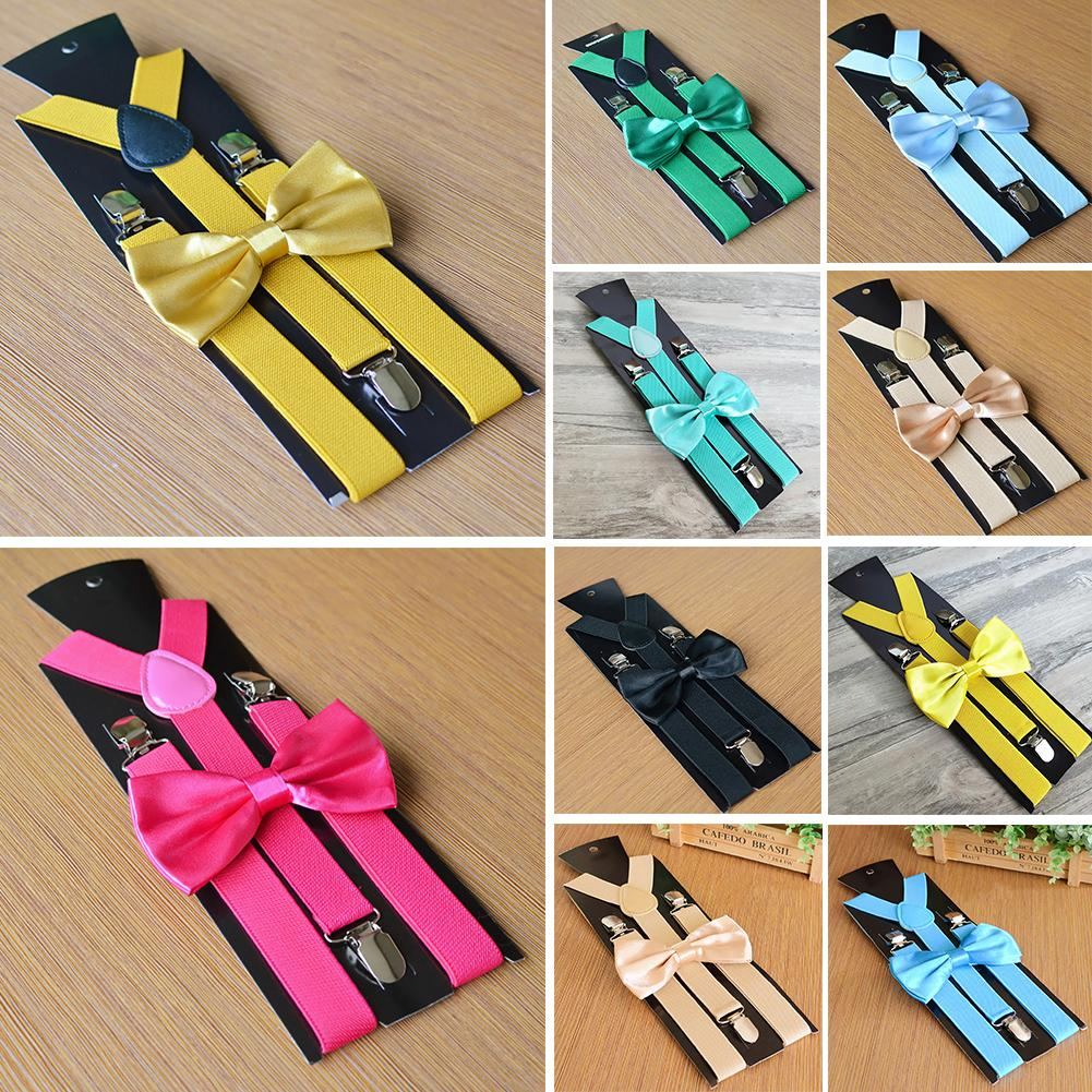 Solid Color Kids Adult Elastic Y-Shape Adjustable Suspenders Bowtie Set Clothing Accessory