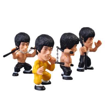 4 Uds. Modelo de PVC de 3 pulgadas y 8cm para el rey de Kung Fu Bruce Lee figura de acción 75 ° aniversario decoraciones de juguete