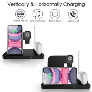 Image 3 - DCAE Wireless Charger QI 4 in 1 10W Fast Charging Dock Station for Apple Watch 5 4 3 2 Airpods Pro iPhone 11 XS XR X 8 Stand Pad
