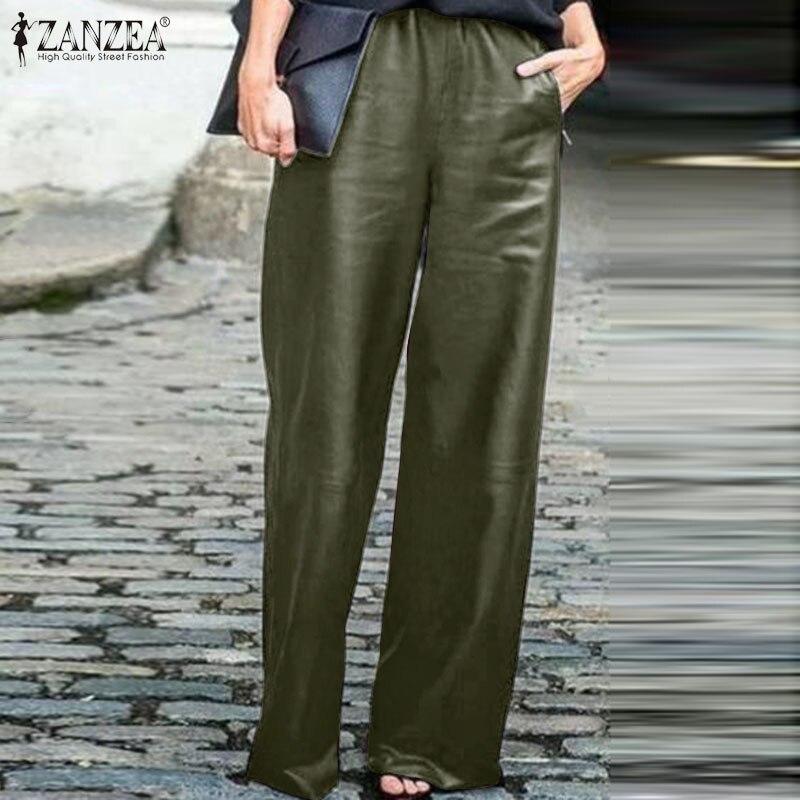 2020 Fashion Long Pantalon ZANZEA Women PU Leather Trousers Casual Solid Elastic Waist Pockets Work Office Wide Leg Pants Female