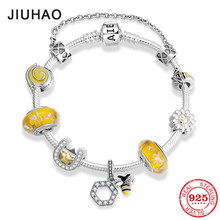 Hot sale 925 Sterling Silver Hardworking bee yellow Enamel Bracelets with glass beads Bracelets for Women fashion Jewelry(China)