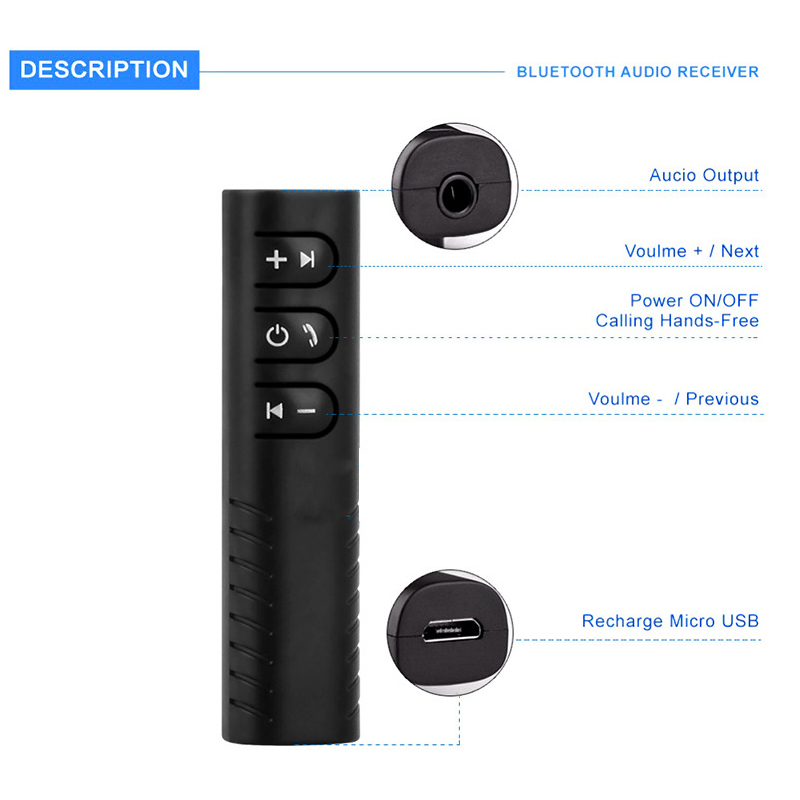 Bluetooth Receiver 3 5mm Jack Wireless Car Bluetooth Adapter AUX Bluetooth Audio Transmitter Handsfree Call Auto Music Receivers in Wireless Adapter from Consumer Electronics