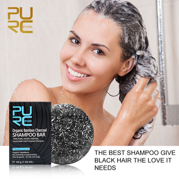 Bamboo Charcoal Shampoo for Hair Gray White Hair Color Dye Treatment Clean Detox Soap Black Hair Shampoo Hair Scalp Treatment 5% 1