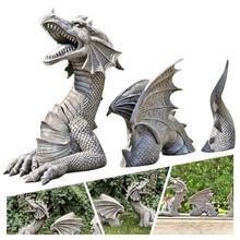 Large Dragon Gothic Garden Statue Decoration Accessories Sculptures Resin Ornament For Garden Outdoor Backyard Decorati
