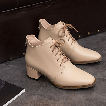 Square Front Chalaza Boots Woman Coarse With Genuine Leather With Rivet Short Boots Will Code Women's Shoes