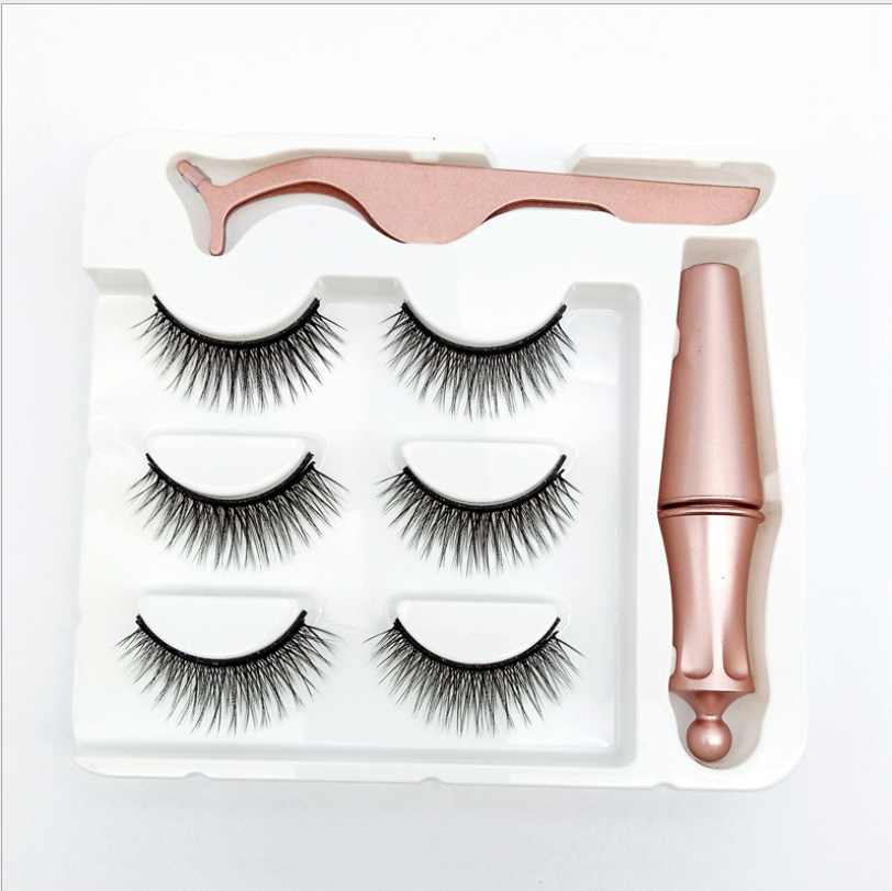 5 Magnetic Eyelash 3 Pairs Eyelash Magnetic Eyeliner& Magnetic False Eyelashes & Tweezer Set Long Lasting Eyelash Extension