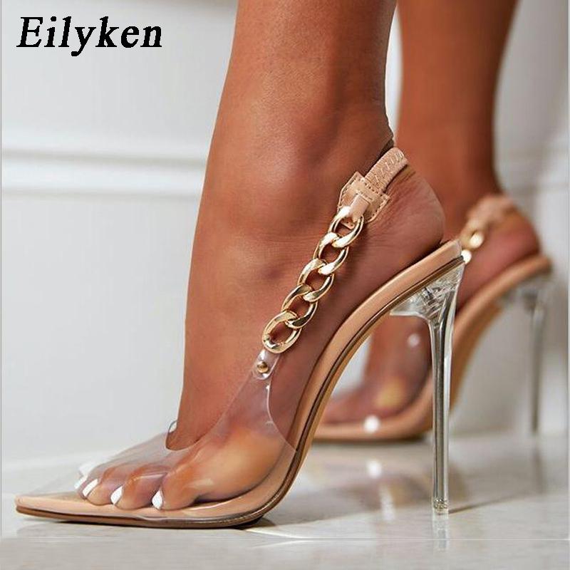 Eilyken Transparent Pumps Women Sexy Pointed Toe Chain Design Crystal Heel Ladies Shoes Stiletto High Heels Wedding Dress Shoes