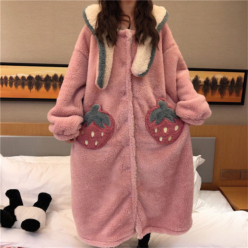 Autumn Winter Women Long Sleeve Nightgown Hooded Flannel Nightgowns Girls Night Dress Sleepwear Cute Princess Coral Fleece W1047