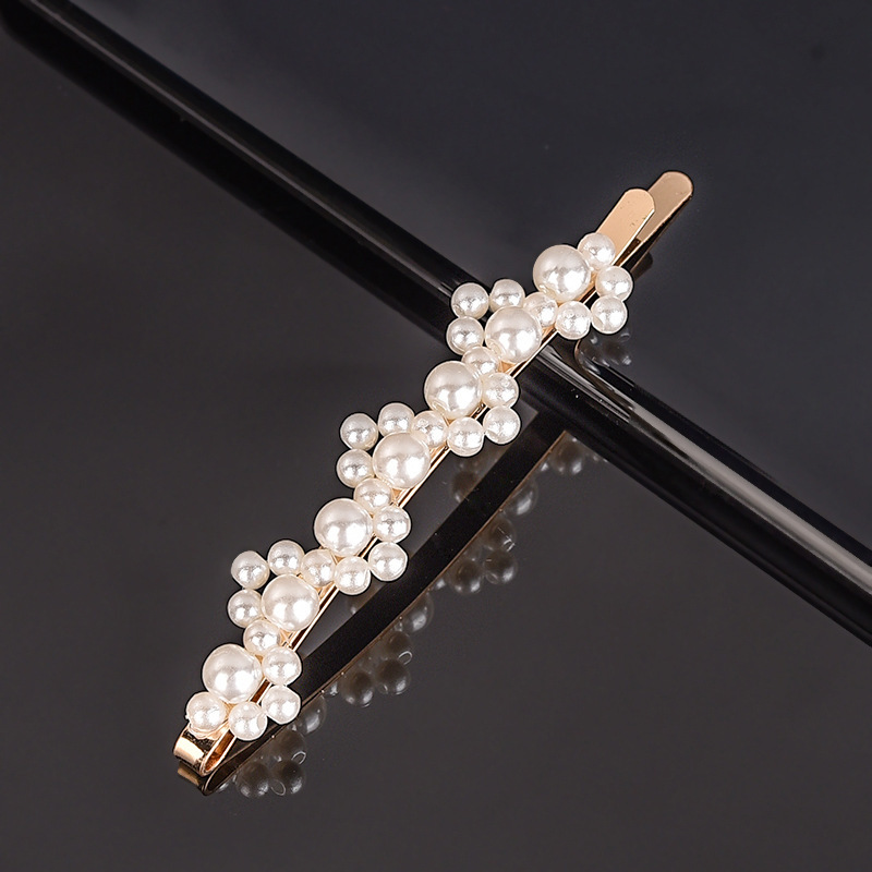 Купить с кэшбэком Gold Silver Love Pearl Decorate Hair Clip Snap Barrette Stick Hairpin For Fashion Girls Bow One Word Concise Bobby Pins Women