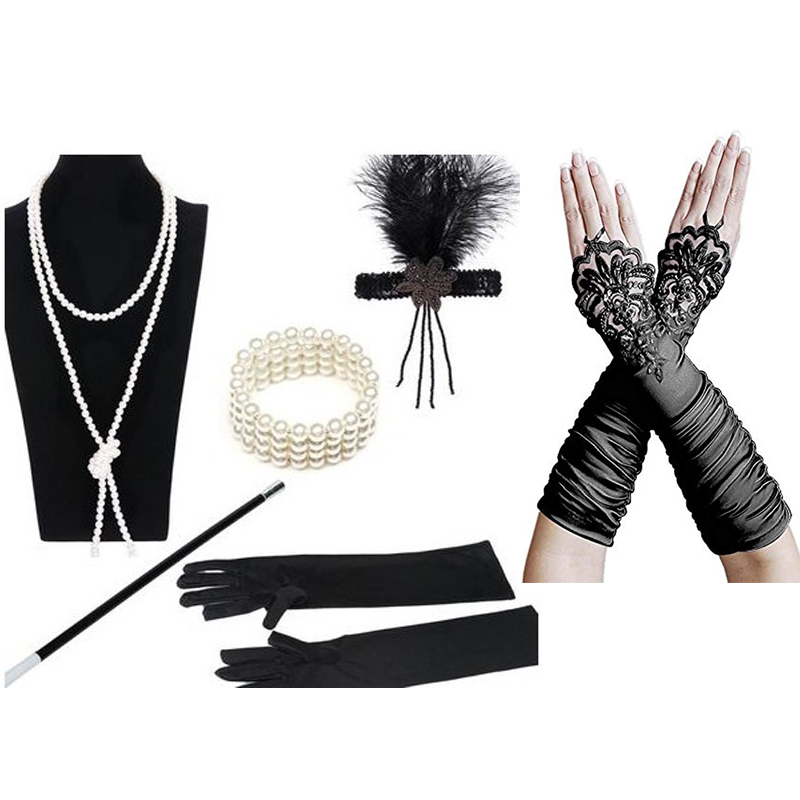 Cosplay Costumes 1920s Great Gatsby Accessories Set For Women Costume 20s Accessory Flapper Headpiece Headband
