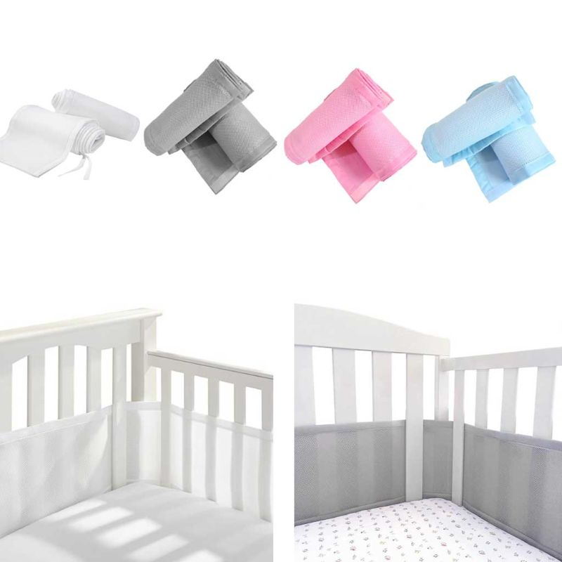 4 Sided Baby Breathable Mesh Crib Liner Infant Cot Bumper Mesh Children Bumper Crib Liner Baby Cot Sets Bed Around Protector