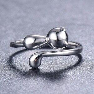 Image 3 - Bague ringen 100% 진짜 925 스털링 실버 반지 동물 고양이 모양 실버 반지 데이트를위한 귀여운 사랑스러운 레이디 쥬얼리
