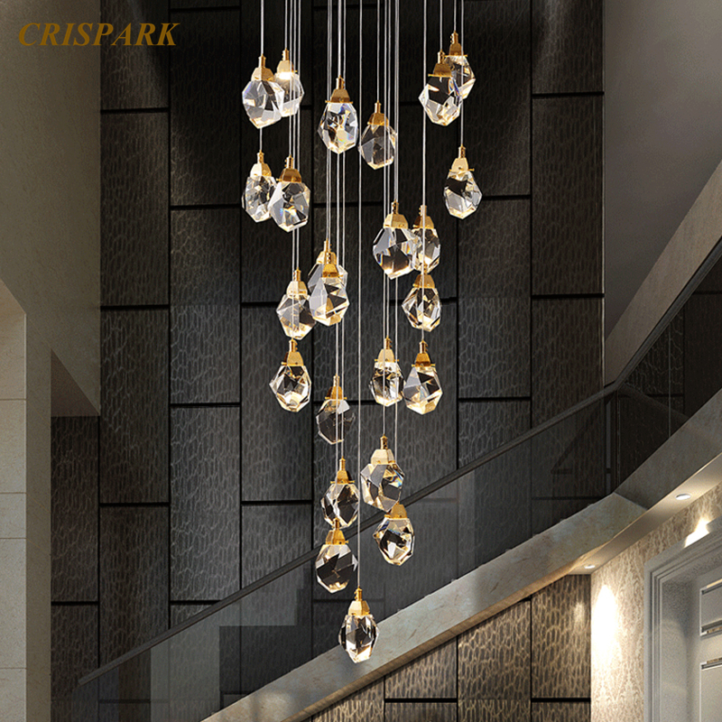 Modern Crystal Chandeliers Lighting Luxury Linear Hanging Lamp Irregular Cristal Ball For Home Stairs Decoration