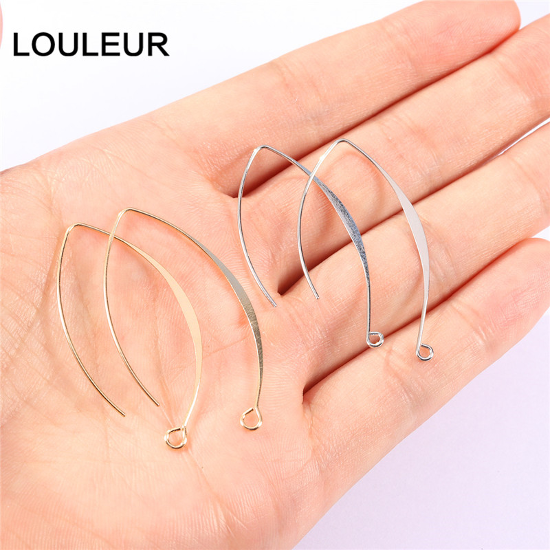 20/50pcs 18K Gold Plated Copper French V-shaped Earring Hooks Findings Ear Hook Wire Settings Base Settings For Jewelry Making