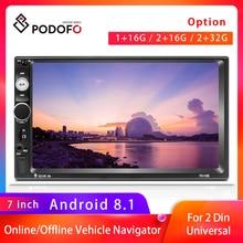 """Podofo Radio samochodowe, autoradio, 2 din, 7"""", multimedialny odtwarzacz, MP5, Auto, audio Stereo, Bluetooth, uniwersalne, radio FM"""