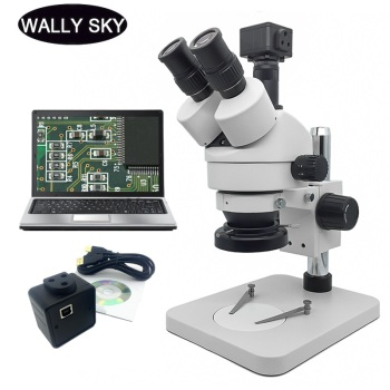Industrial Trinocular Stereo Microscope 7X-45X Zoom Microscope LED Ring Light 5MP USB Digital Camera Eyepiece PCB Inspection trinocular stereo microscope 7 45x continuous zoom binocular usb microbial magnifying video tv tube bst x6 with display screen