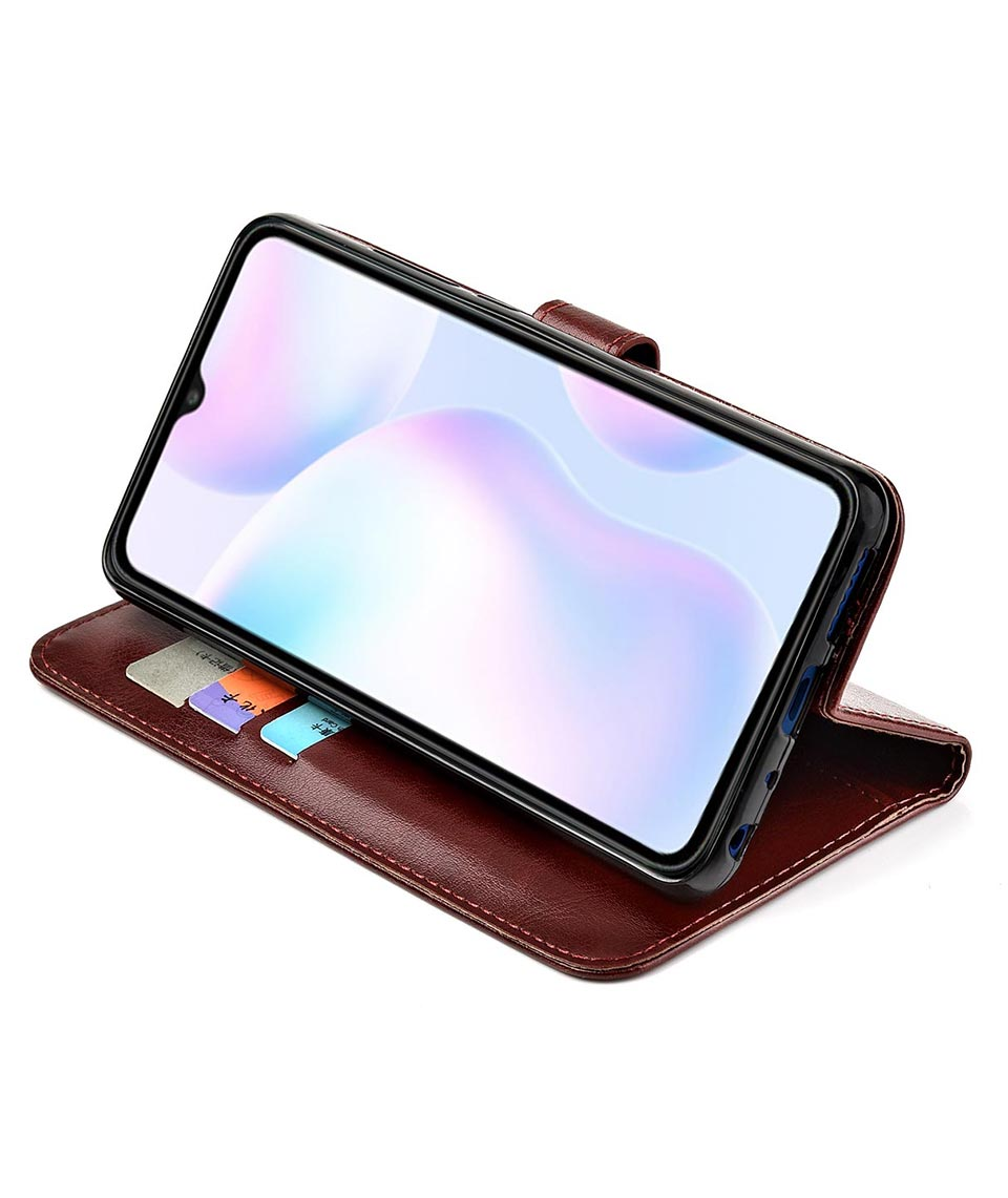 Reevermap Xiaomi Redmi 9A Case Phone Cover for Xiaomi Redmi 9A PU Leather Flip Shockproof Wallet Stand Magnet Buckle Notebook White Flower