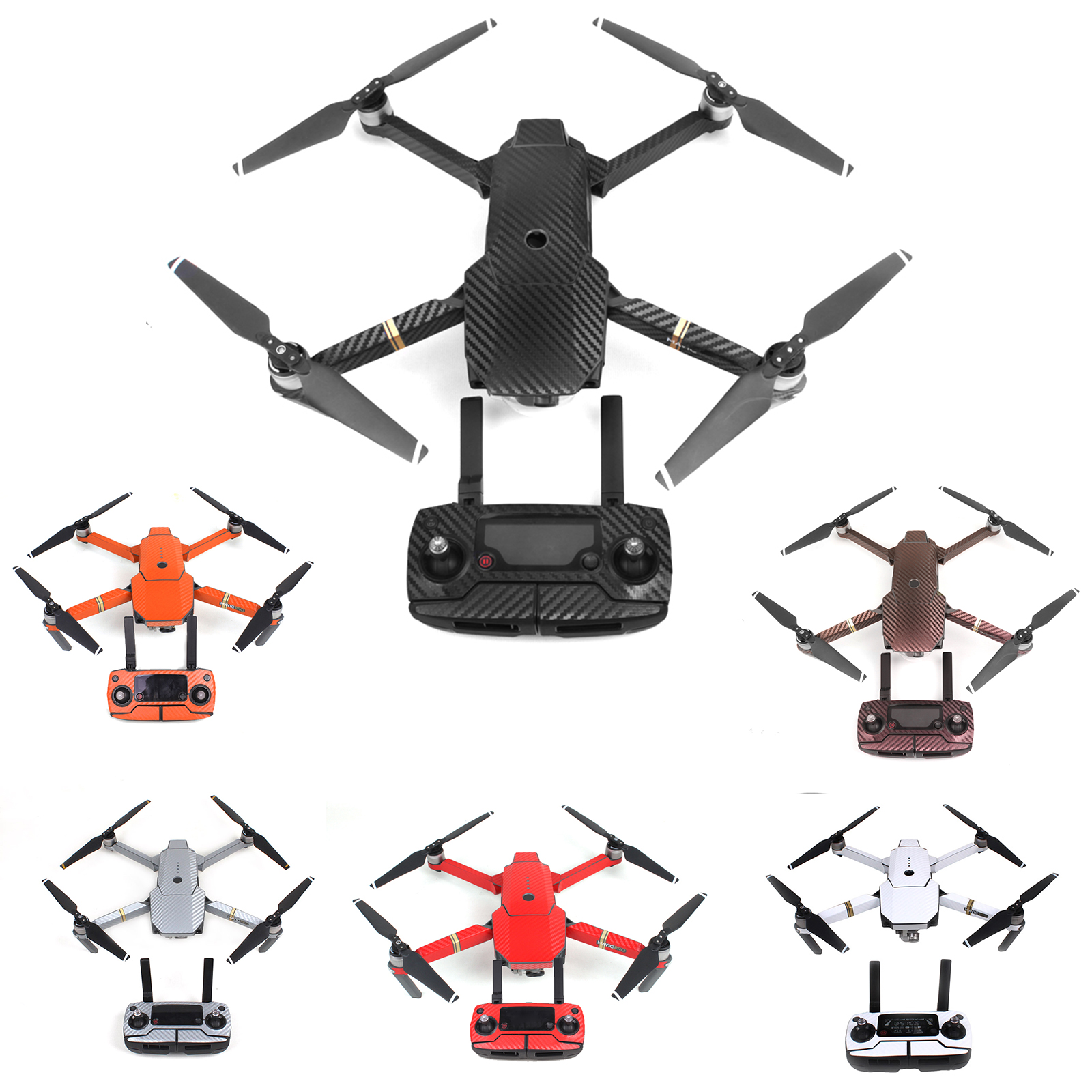 Waterproof Carbon Graphic Decals Skin Full Wrap Drone Body+Remote Control+Extra Batteries Arm Stickers For DJI MAVIC PRO Drone