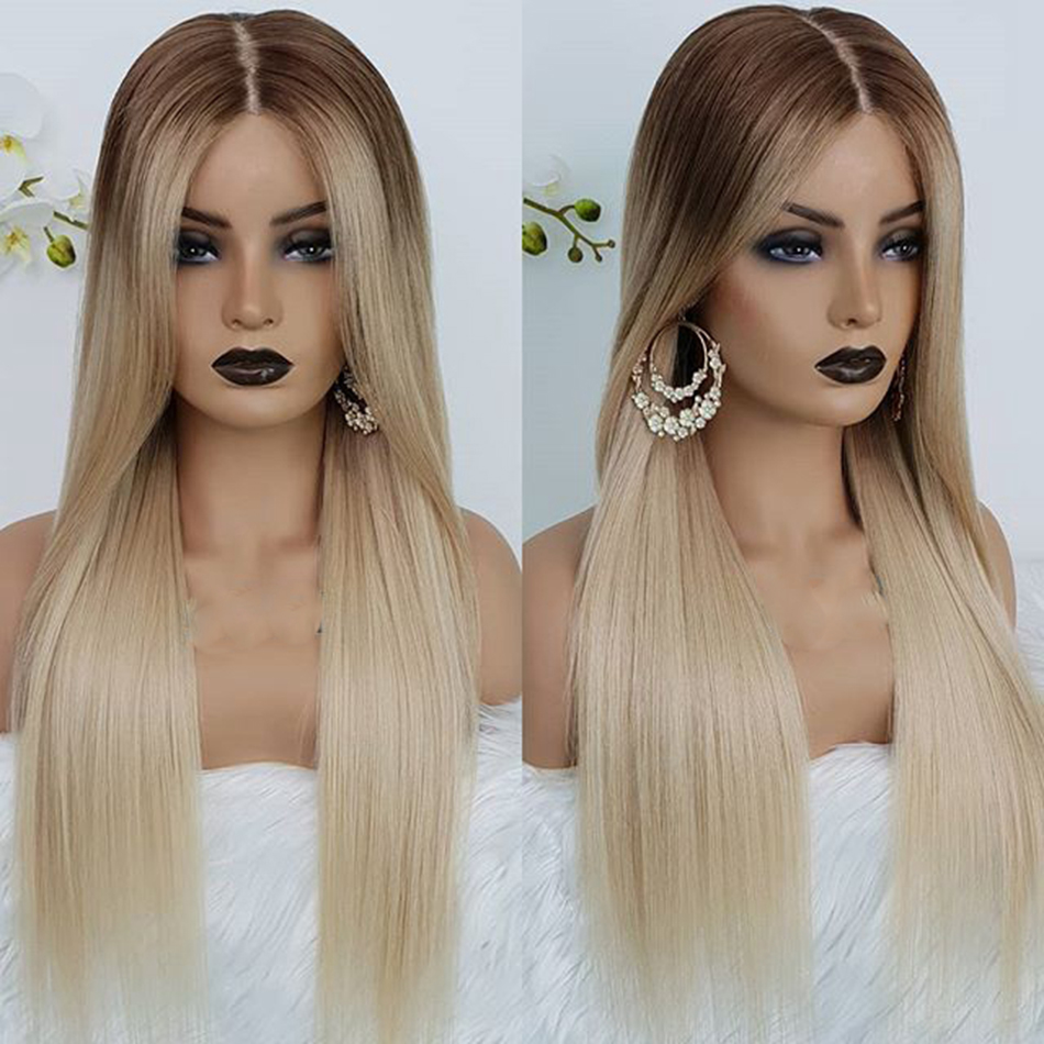 Ombre Platinum Blonde Brazilian Silky Straight Glueless Full Lace Human Hair Wigs 150Density 13x6 Tranparent Lace Front Wigs