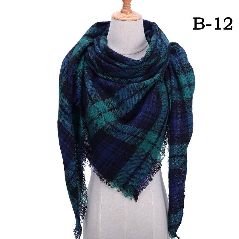 Женский зимний шарф в ретро стиле, кашемировые вязаные пашмины шали, женские мягкие треугольные шарфы, бандана, теплое одеяло, новинка - Цвет: bb12