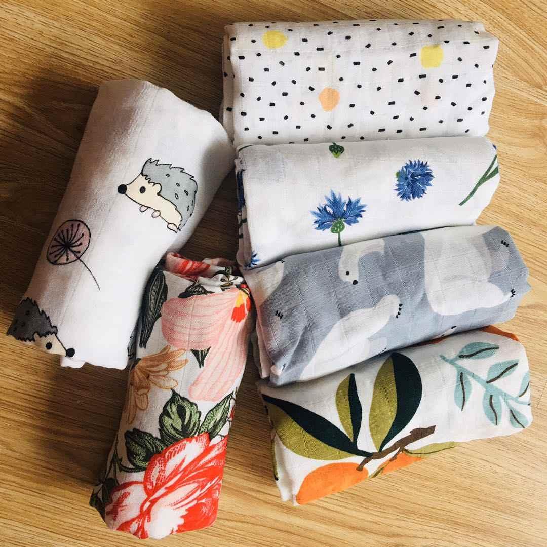 Muślin Swaddle pielucha dla niemowląt muślin noworodka koce bambusowa kąpiel tkanina bawełniana miękkie rzeczy dziewczyny śliniaczek ręcznik miesięczny Wrap