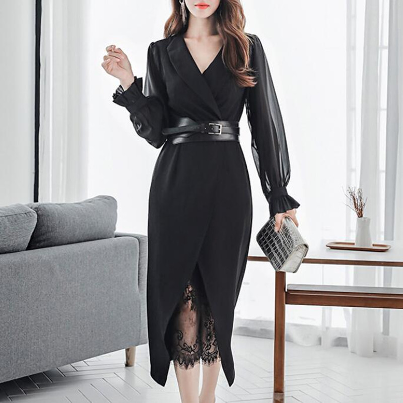 2020 New Autumn Dress Suits For Women Chiffon Long Sleeve Blazer Lace Dress Two Piece Set Sexy Ladies Office Wear Clothing Belt