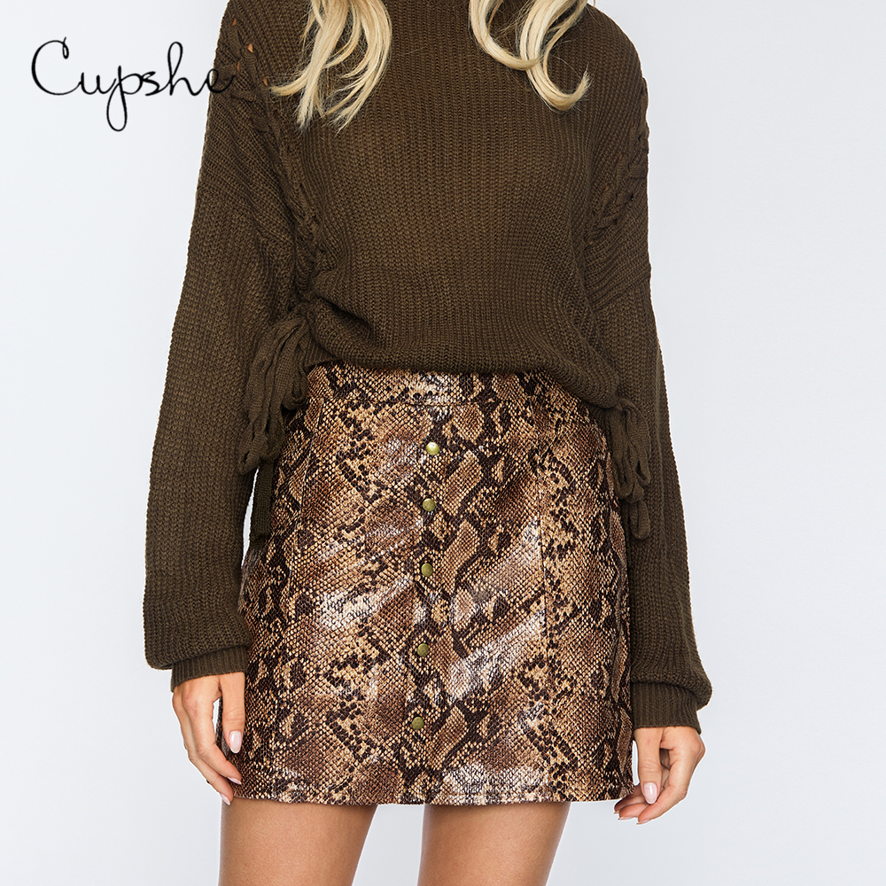 CUPSHE Snake Print Mini Skirt Sexy Ladies Hip-Wrapped High Waist Short Pencil Skirts 2019 Summer Women Bodycon Skirts