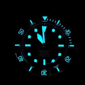 Image 5 - קרונוס Hruodland ברונזה צלילה גברים שעון מכאני רצועת גומי קרמיקה למעלה טבעת ספיר קריסטל משלוח עור רצועת BGW9 כחול