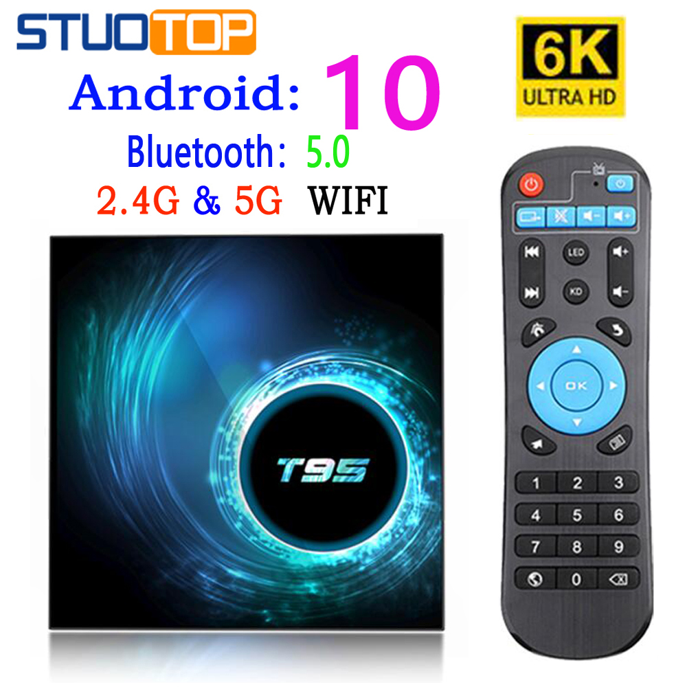 T95 Smart TV Box Android 10 4k 6k 4g 32gb 64gb 2.4g dan 5g WiFi - Audio dan video rumah - Foto 2