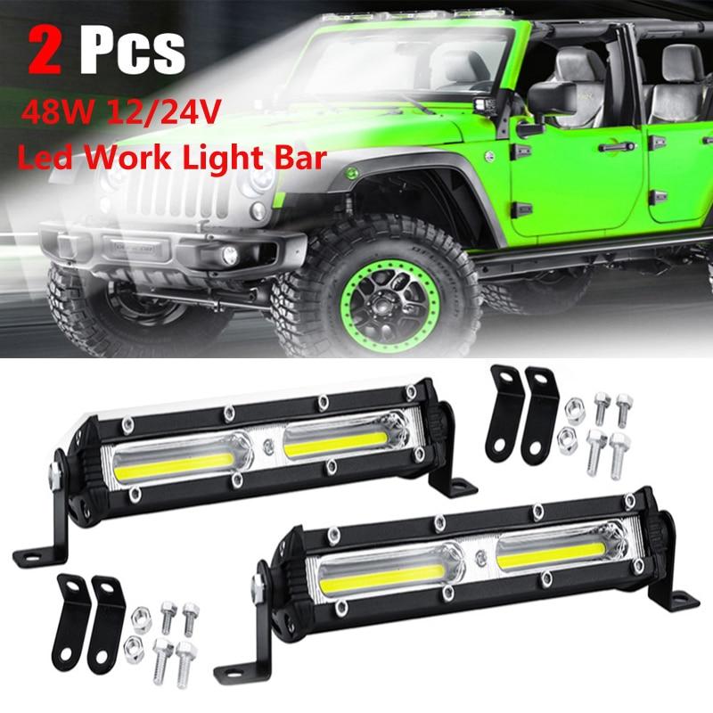 2Pcs Driving Fog Offroad LED Work Car Light 48W 12V-24V Universal SUV Truck Car 18Led Beams Work Light Bar Spotlight Flood Lamp