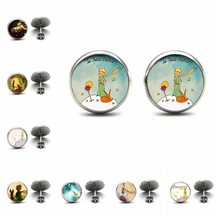 He Little Prince Vintage The Little Studs Earrings Little Ear Nail Jewelry Anime Glass Cabochon Earrings Handmade Gifts Child(China)