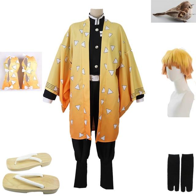 Anime demônio slayer cosplay traje agatsuma zenitsu kimetsu não yaiba cosplay traje homem quimono uniforme amarelo conjunto completo