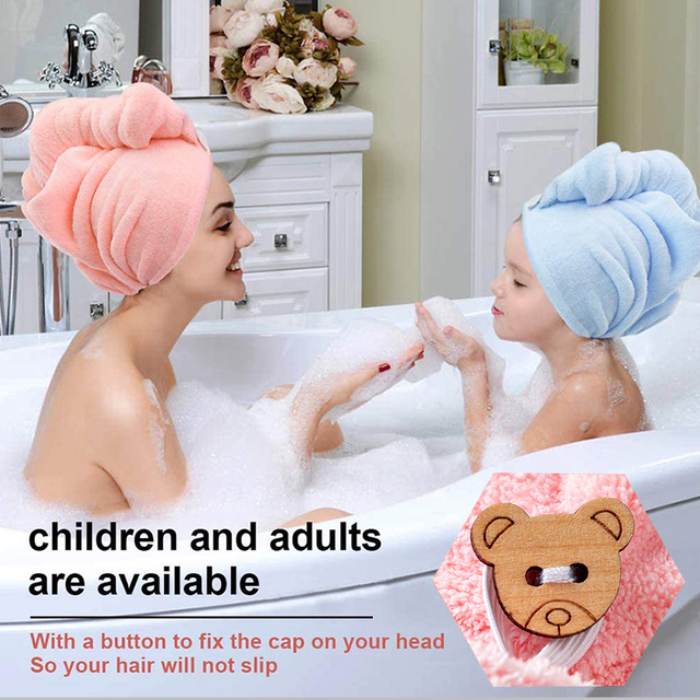 Girl's Hair Drying Hat Quick-dry Hair Towel Cap Hat Bath Hat Microfiber Solid Towel Cap Super Absorption Turban Hair Dry Cap 3