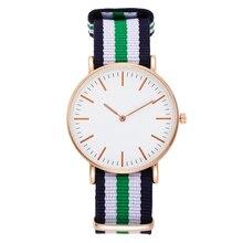 Мода свободного покроя женщин роскошные нейлон Band аналоговое Кварцевые наручные часы серебро золото дамы женщины платье часы mujer черный часы