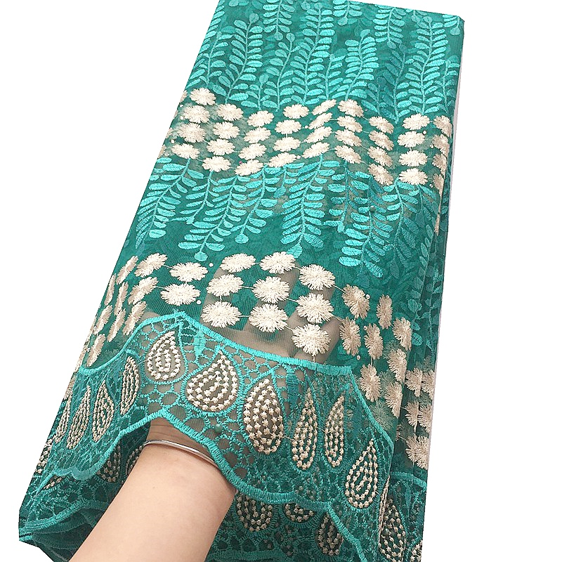 Glitter Latest Tulle Lace Fabric 2018 Green White Nigeria Wedding Laces High Quality with Stones Net Guipure Lace Fabric 5yards