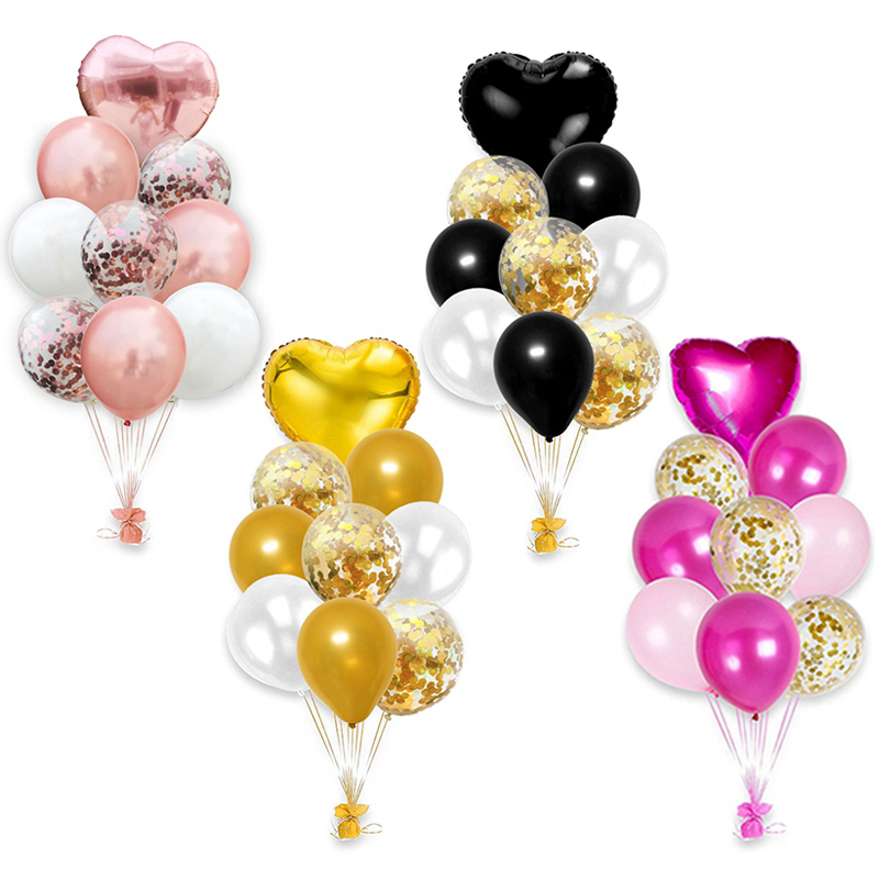 10pcs Multi Rose Gold Heart Foil Balloons For Birthday And Wedding Party Decorations 4